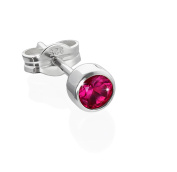 Nklaus Single Children's Stud Earrings Silver 925 4.50 mm Red Synthetic Ruby 6662