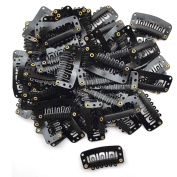 hunpta 40PCS U Shape Iron Snap Clips For Feather Hair Extensions Wigs Weft Black