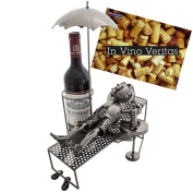 "Brubaker Wine Bottle Holder ""vacationer"" Metal Sculpture - With Greeting"