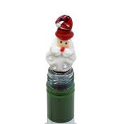 Christmas Santa Blown Glass Metal Red White Bottle Stopper 12cm X 3cm X 3cm