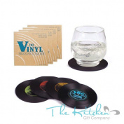 4 X Novelty Record Drink Silicone Coasters Vinyl Lp - Beer Mat Hot Drink Coaster