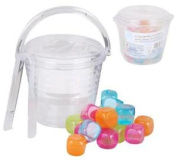 Plastic Party Ice Serving Holder Bucket Cooler Tongs & 18 Reusable Ice Cubes