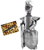Brubaker Bottle Holder Knight Metal Sculpture Boxed With Card
