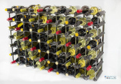 Classic 70 Bottle Black Stained Wood And Galvanised Metal Wine Rack Ready