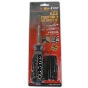 13 In 1 Screwdriver And Socket Set - Tools Builders Garage Rubber Handle Phillip