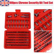 100pc Chrome Security Torx Tamperproof Hex Screwdriver Bit Set Suit Drill + Case