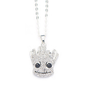 Official Silver Plated Guardians of The Galaxy Groot Diamante Pendant Necklace