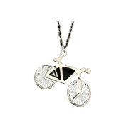 Vintage Silver Bike Pendant Bicycle Charms Cycling Necklace for Women Men Cowgirl . Best Gift Jewellery