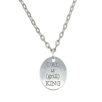 Dad is Grill King Necklace, Dad is Grill King Charm, Dad is Grill King Pendant, Fathers Day Gift