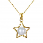 JaosWish Starry Night Gold 925 Sterling Silver Necklace Women White Freshwater Cultured Pearl Pendant