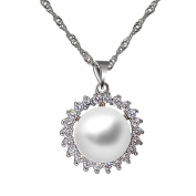 Cheerslife Clear Diamond Round White Pearl Pendant Necklace for Women 46cm