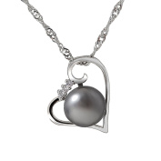 Cheerslife Clear Diamond Grey Pearl Heart Pendant Necklace for Women 46cm