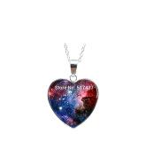 Silver heart shaped necklaces Pendant Nebula Pendant Galaxy Necklace