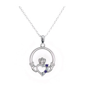 Claddagh Pendant Necklace with Birthstone for Women Heart Friendship Necklace