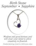 Angelys Birthstone Heart Pendant With Chain September Birthday