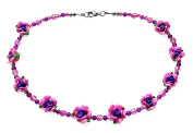 Pink and Purple Rose Flower Costume Fashion 45 cm Beaded Necklace.