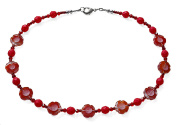 Red Pansy Flower Costume Fashion 44 cm Beaded Necklace.