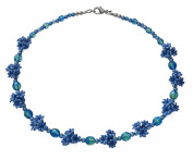 Blue Flower Cluster Costume Fashion 45 cm Beaded Necklace.