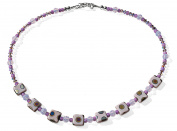 Lilac Peacock Square Costume Fashion 44 cm Beaded Necklace.