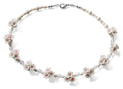 White Flower Cluster Costume Fashion 43 cm Beaded necklace.