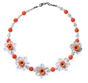 Narcissus Flower Costume Fashion 41 cm Beaded Necklace.