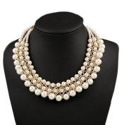 DELEY Women Fashion 3-Rows Faux Pearl Party Wedding Jewellery Chunky Choker Collar Bib Statement Necklace