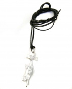 Sterling Silver Oriental Cat Pendant From Thailand on Waxed Cord