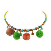 Ornamenta Fashion Beaded Torque Choker Necklace with Pompoms For Girls