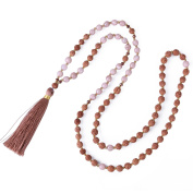 KELITCH Hinduism Mala Rudraksha Agate Meditation Prayer Necklace with Tassel Pendant