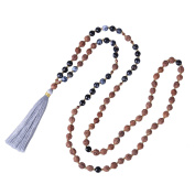 KELITCH Hinduism Mala Rudraksha Agate Meditation Prayer Necklace with Grey Tassel Pendant