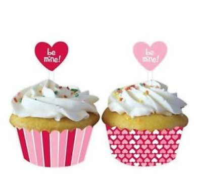 """Clearance Valentines Day """"be Mine"""" Cupcake Wrappers & Picks X 12"""