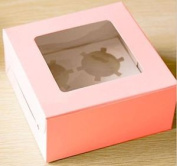 10 X Cupcake Boxes In Pink With Display Window Holds 4 Cakes