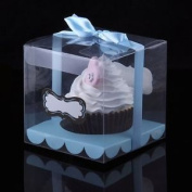 10 X Clear Single Cupcake Boxes Pvc With Blue Ribbon And Insert