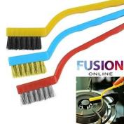 3 Pc Mini Wire Brush Set Nylon Brass Steel Brushes Cleaning Home Kitchen Brush