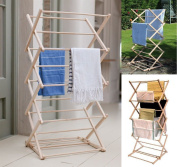 Traditional Wooden Folding Clothes Airer Beechwood Clothes Hanging Airer Dryer Vintage Clothes Horse Wilsons Direct