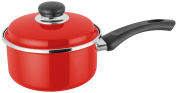 Judge Induction Non Stick Saucepan Sauce Pan With Lid Red Enamel Coating Jt05