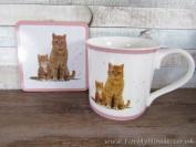 Ginger Cat Mug And Coaster Set Fine China Lp92087