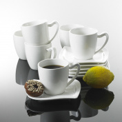 Malacasa 18x Ceramic Coffee Tea Cups Saucers Dessert Plates Porcelain Tableware