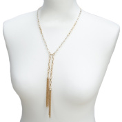 Adorning Ava Gold Long Y Necklace | Beaded Tassel Layered