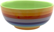 Ceramic Rainbow Cereal / Soup / Rice Bowl With Green Interior