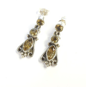 Beautiful Things For Women Marquise and Round Cut Citrine Stamped 925 Sterling Silver Earrings
