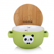 UPSTYLE Cute Cartoon Microwave Ceramic Soup Bowls Instant Noodle Bowl Cereal Bowl for Salad Fruit with Bamboo Lid (Not Put in Microwave) Size 750 ml, Green