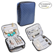 Teamoy Jewellery Organiser, Travel Jewellery Case with Storage Space for Necklaces, Bracelets, Earrings, Rings, Chains and more, Well Made, Lightweight and Easy to Carry, Blue Dots