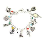 Beauty And The Beast Charm Bracelet - Movie Inspired Silver Bracelet For Girls in Gift Box