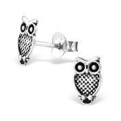 Laimons Childrens' Earrings Childrens' Jewellery owl oxidised 925 Sterling silver