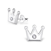 Laimons Childrens' Earrings Childrens' Jewellery crown glitter 925 Sterling silver