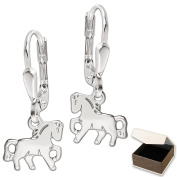 Clever Jewellery 925 Silver Pair Earrings 22 mm long with small horse 9 x 8 mm Trabend Flat Shape Shiny 925 Sterling Silver in Case