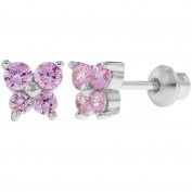 925 Sterling Silver CZ Pink Butterfly Earrings Toddlers Baby Kids Screw Back