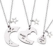 3 Pieces Big Sis Middle Sis Little Sis Jewellery Necklace Set with Star Charm Gift for Sister