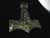 """Viking Skane Mjolnir THOR'S HAMMER NECKLACE 43 mm double sided Bronze Pendant high quality sculpted brass pendant 27"""" black Chain made in USA new with tag"""